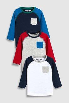 Next Cosy Raglan T-Shirts Three Pack (3mths-6yrs)