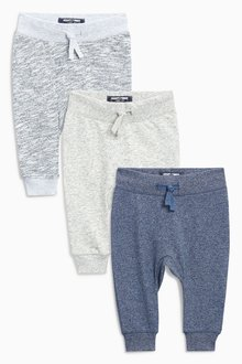 Next Textured Joggers Three Pack (3mths-6yrs)