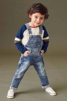 Next Denim Long Leg Dungarees (3mths-6yrs)