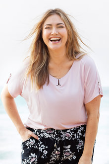 Plus Size - Sara Buckle Trim Tee