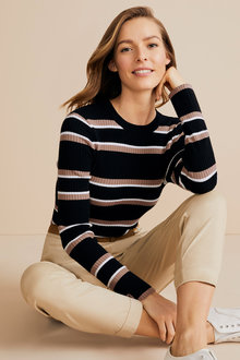 Capture Ribbed Crew Neck Stripe Top