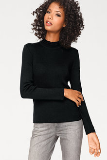 Heine Ruffle High Neck Pullover