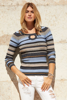 Urban Ribbed Keyhole Sweater - 220152