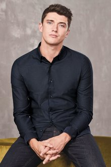 Next Long Sleeve Slim Fit Jacquard Shirt