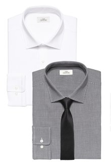 Next Mini Check And Textured Shirts Two Pack With Tie