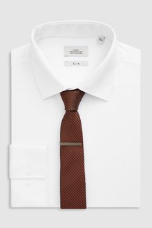 Next Slim Fit Shirt With Bronze Tie And Tie Clip Set
