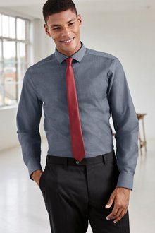 Next Cotton Stretch Shirt With Tie Pack - Regular Fit Single Cuff
