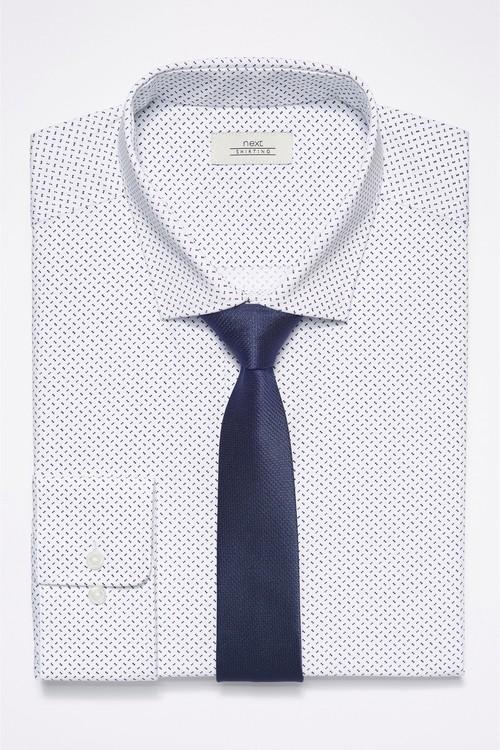 Next Dot Print Shirt With Tie Set - Regular Fit Single Cuff
