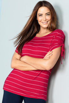 Plus Size - Sara Rouched Sleeve Tee