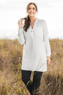 Plus Size - Sara Button Long Shirt