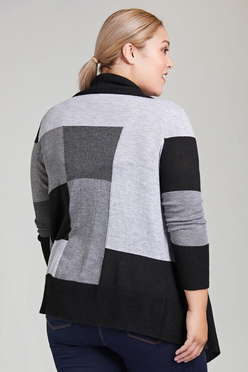 Plus Size - Sara Colour Block Cardi