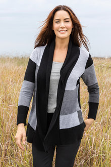 Plus Size - Sara Colour Block Cardi