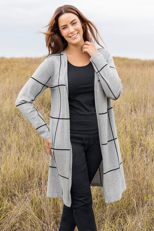 Plus Size - Sara Check Longline Cardi