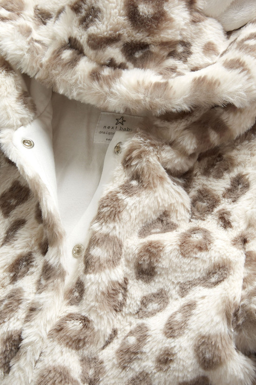 Next Leopard Faux Fur All-In-One (0mths-2yrs)