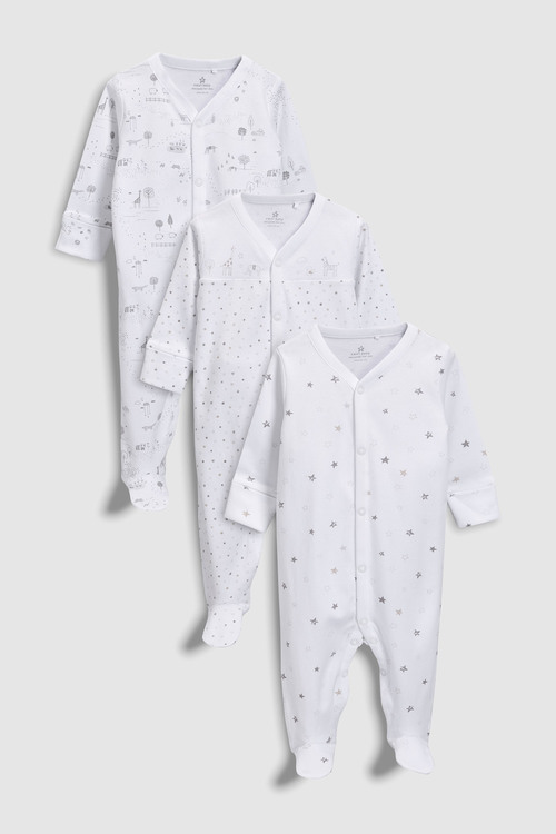 Next Delicate Woodland Sleepsuits Three Pack (0-12mths)