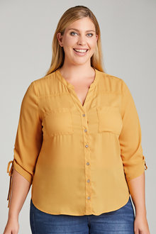 Plus Size - Sara Rouched Sleeve Shirt - 220488