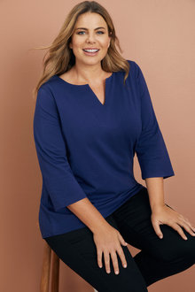 Plus Size - Sara Notch Neck Tunic