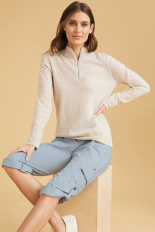 Capture Lambswool Half Neck Zip Sweater - 220859