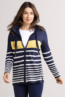 Capture Zip Front Stripe Cardi - 220875