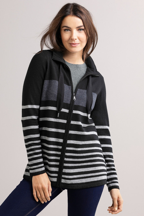 Capture Zip Front Stripe Cardi