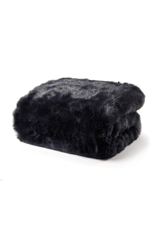 Plain Faux Fur Throw