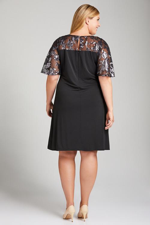 Plus Size - Sara Sequin Sleeve Dress