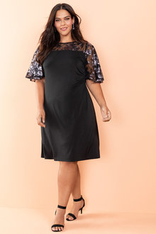 Plus Size - Sara Sequin Sleeve Dress