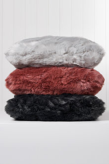 Coloured Faux Fur Cushion