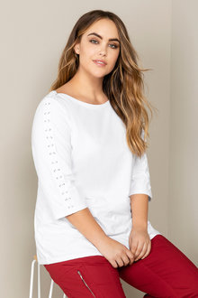 Plus Size - Sara Lace Up Top