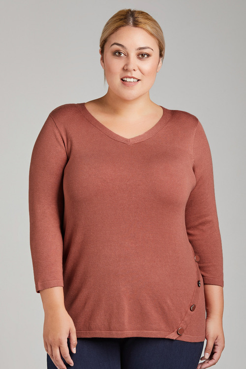 Plus Size - Sara Hem Detail Jumper
