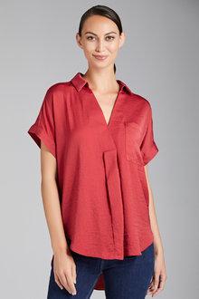 Emerge Pleat Front Short Sleeve Blouse - 220950