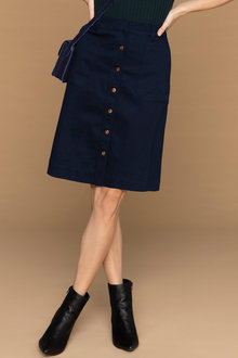 Capture Twill Button Front Skirt - 220995