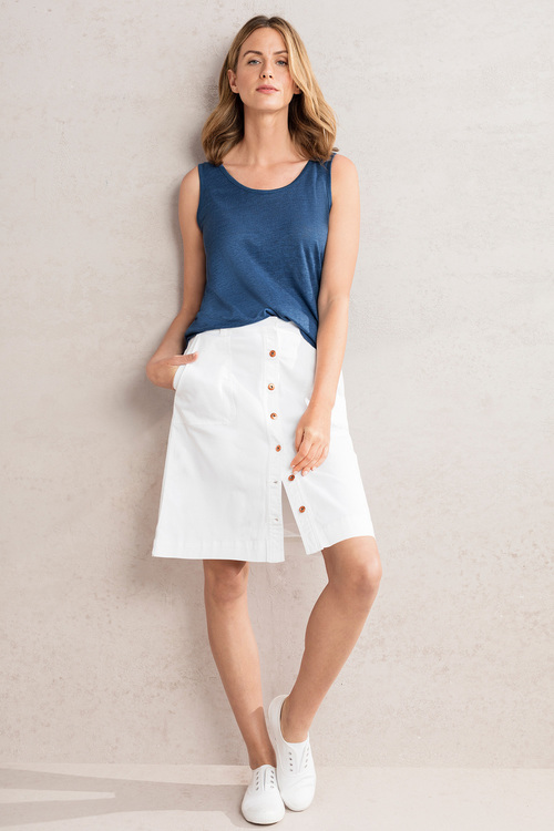 Capture Twill Button Front Skirt