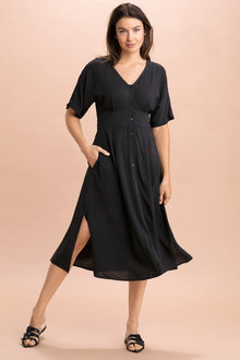 Capture Button Through Midi Dress - 220999