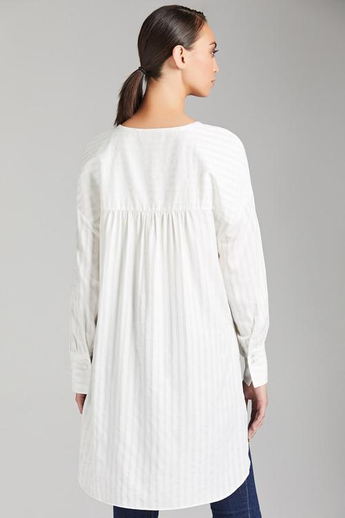 Grace Hill Self Stripe Placket Shirt