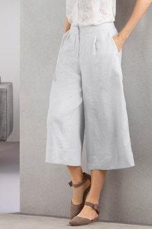 Grace Hill Wide Leg Linen Culotte - 221016