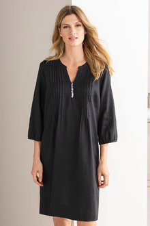 Grace Hill Linen Pintuck Dress