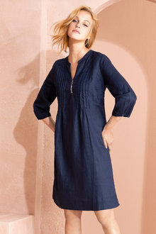 Grace Hill Linen Pintuck Dress - 221055