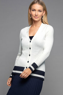 Grace Hill Contrast Trim Cardigan - 221056