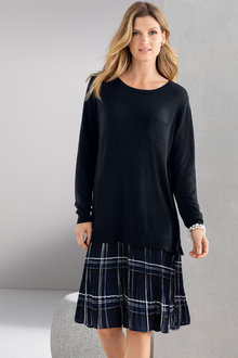 Grace Hill Mix Media Knitwear Dress