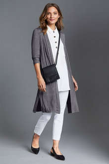 Capture Ruched Sleeve Longline Cardigan - 221090