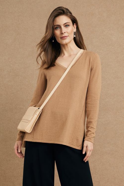 Grace Hill Wool Cashmere V Neck Longline Sweater