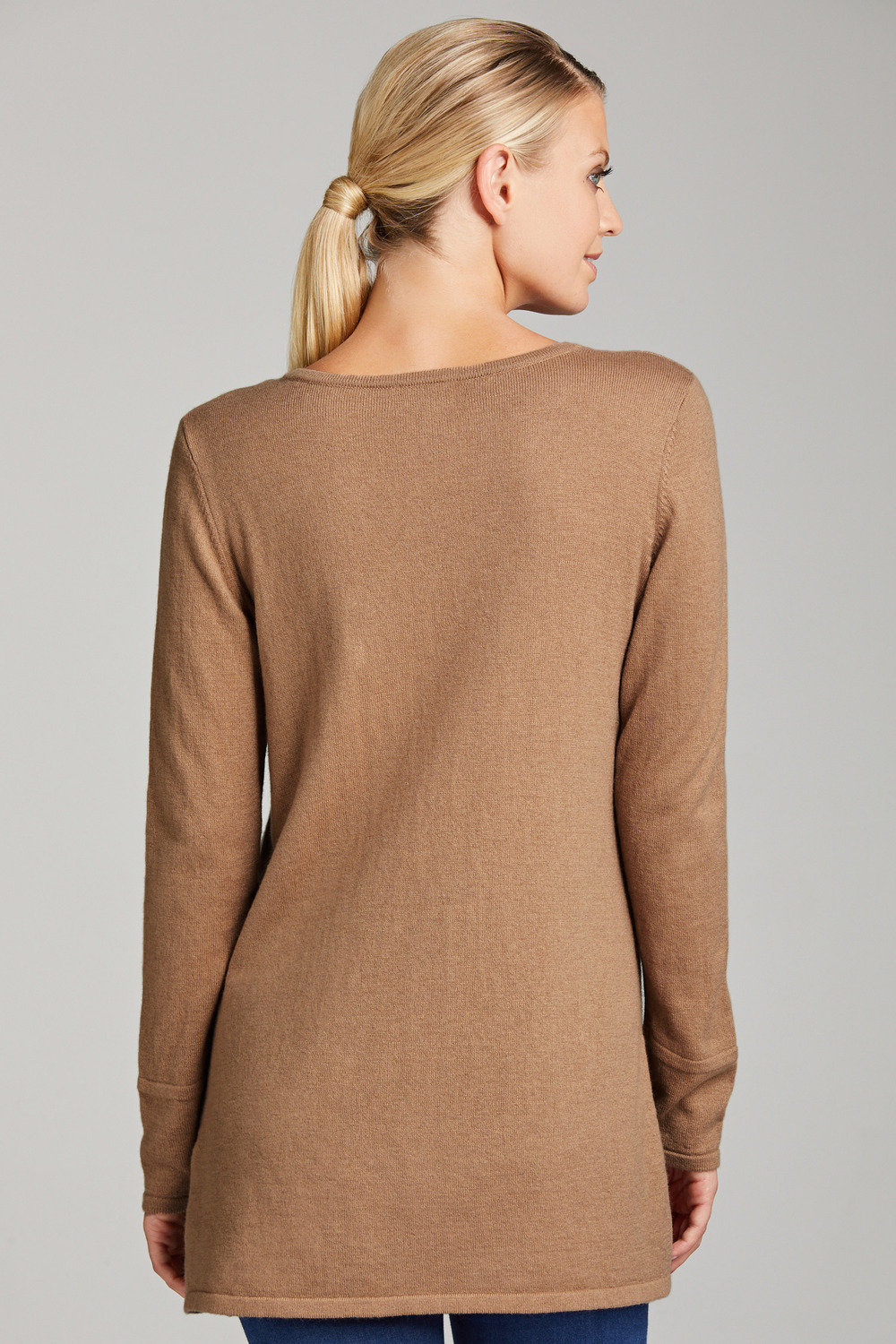 huge discount 38481 086ac Grace Hill Wool Cashmere V Neck Longline Sweater Online ...