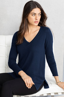 Grace Hill Wool Cashmere V Neck Longline Sweater