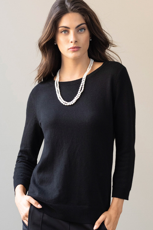Grace Hill Cashmere Blend Button Back Sweater