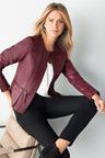 Capture Leather Collarless Peplum Jacket