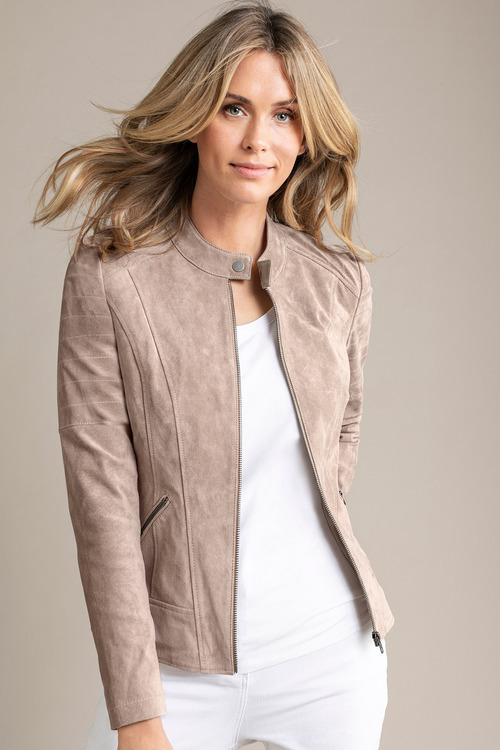 Capture Suede Collarless Jacket