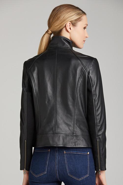 Emerge Asymmetric Collar Leather Jacket
