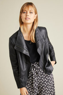 Emerge Asymmetric Collar Leather Jacket - 221118