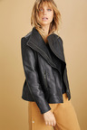 Emerge Asymmetric Collar Leather Jacket